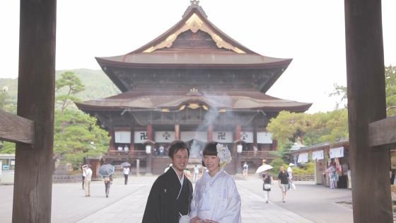 歴史と伝統ある善光寺で荘厳な雰囲気に包まれて仏前結婚式。ご先祖様に結婚の報告 善光寺 本坊 大勧進